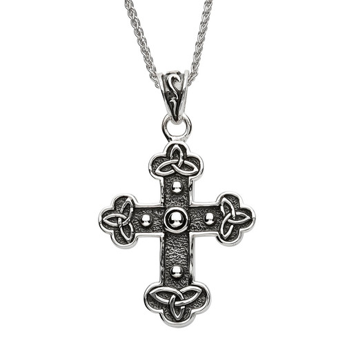 Sterling Silver Oxidized Celtic Trinity Knot Cross Pendant