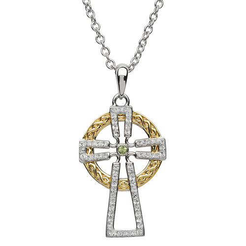 Sterling Silver Yellow Gold Plated Two Tone Celtic Cross Pendant Embellished with Swarovski® White Crystals