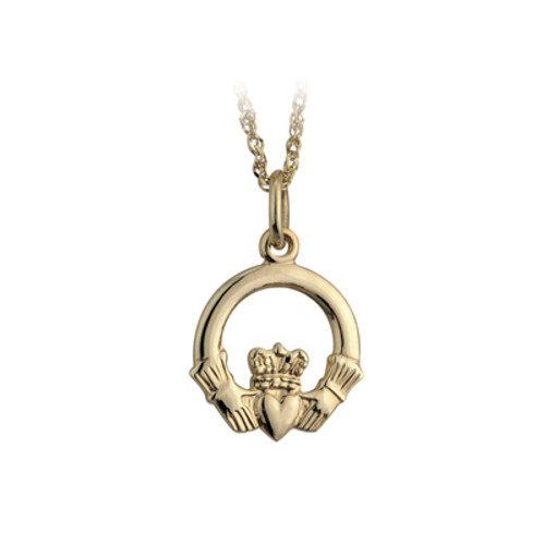10 Karat Yellow Gold Small Claddagh Pendant