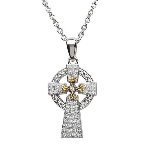 Sterling Silver Yellow Gold Plated Two Tone Trinity Knot Celtic Cross Pendant Embellished with Swarovski® White Crystals