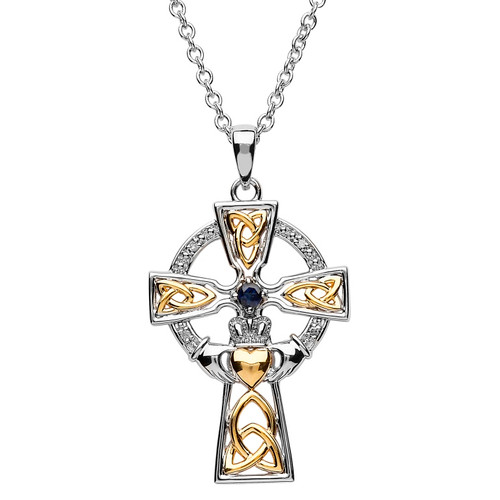 Sterling Silver Yellow Gold Plated Trinity Knot Claddagh Celtic Cross Pendant Embellished with Swarovski® Sapphire and White Crystals