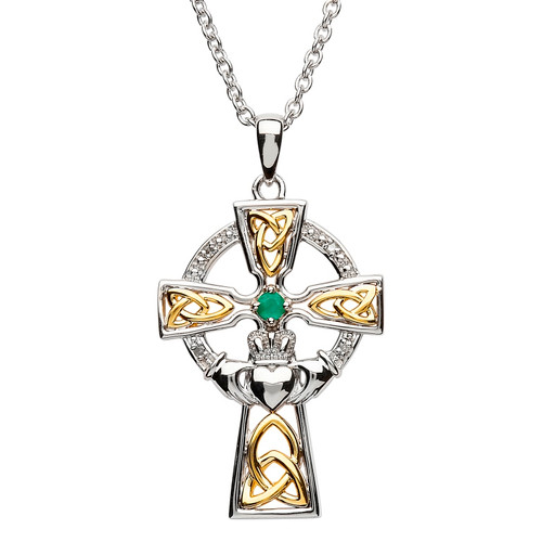 Sterling Silver Yellow Gold Plated Trinity Knot Claddagh Celtic Cross Pendant Embellished with Swarovski® Emerald and White Crystals