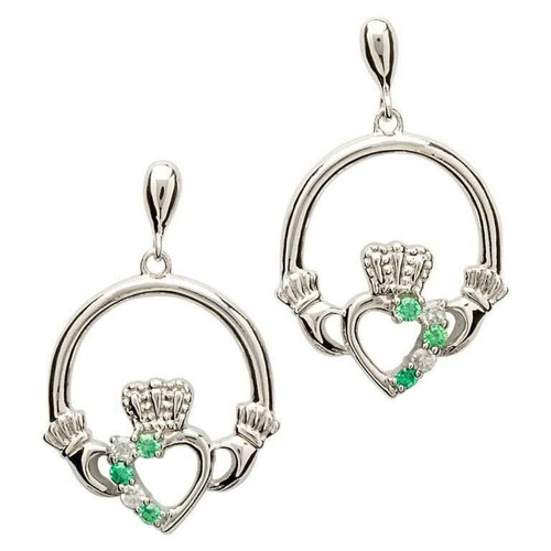 Sterling Silver White and Green CZ Asymmetrical Claddagh Drop Earrings