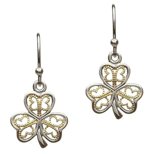 Sterling Silver Filigree Shamrock Drop Earrings