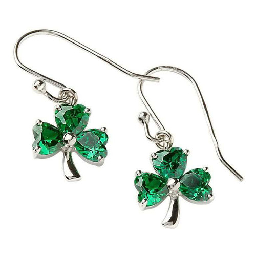 Sterling Silver Green CZ Shamrock Drop Earrings