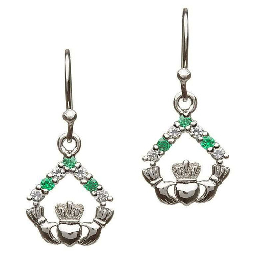 Sterling Silver White and Green CZ Claddagh Drop Earrings