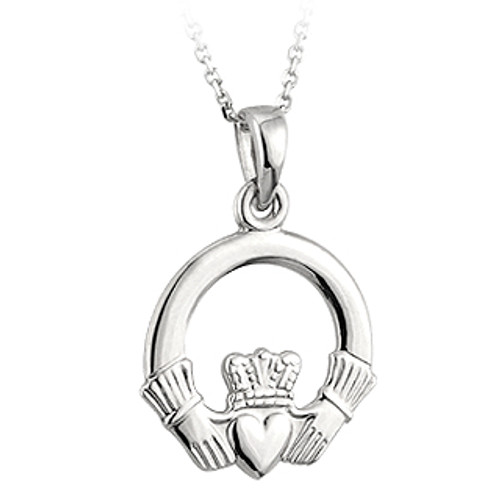 14 Karat White Gold Medium Claddagh Pendant