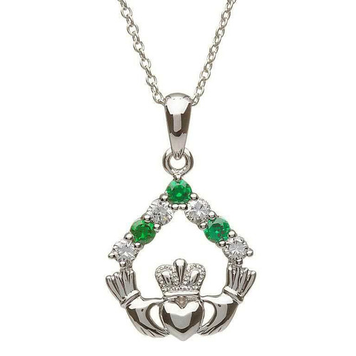 Sterling Silver White and Green CZ Claddagh Pendant