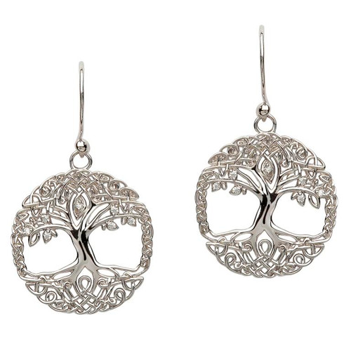 Sterling Silver Tree of Life CZ Drop Earrings