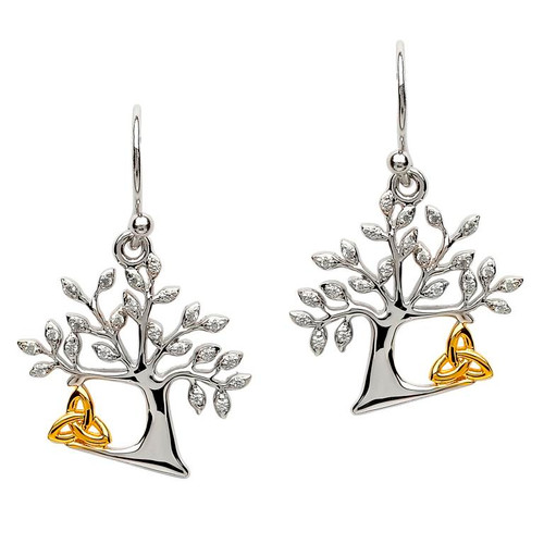 Sterling Silver Tree of Life Celtic Trinity Knot CZ Drop Earrings