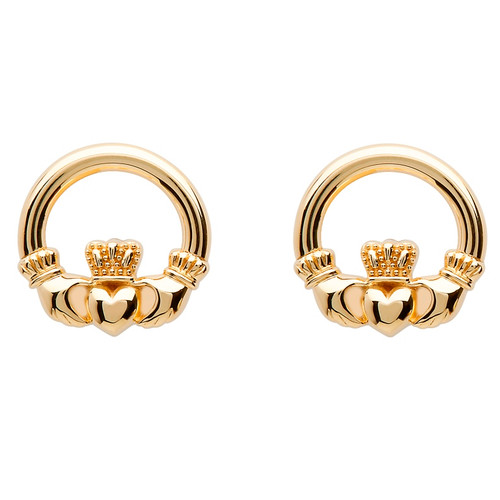10 Karat Yellow Gold Claddagh Stud Earrings