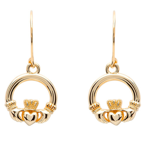 10 Karat Yellow Gold Medium Claddagh Drop Earrings