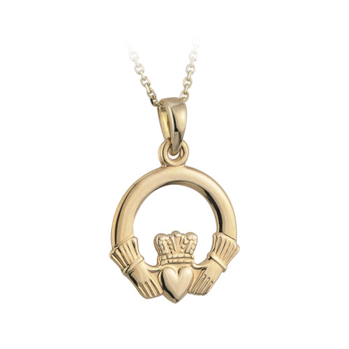 14 Karat Yellow Gold Medium Claddagh Pendant