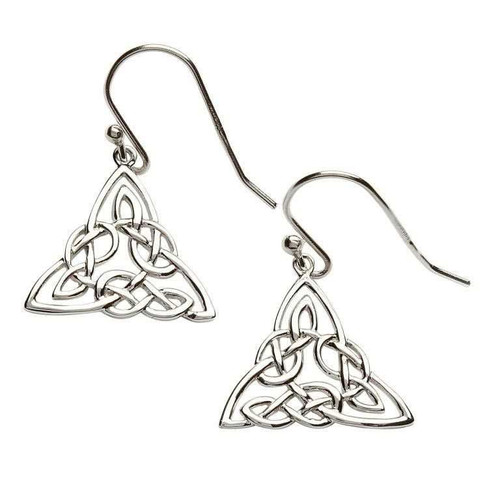 Sterling Silver Intricate Celtic Knot Drop Earrings