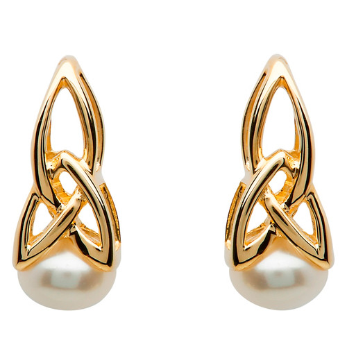 10 Karat Yellow Gold Celtic Trinity Knot Pearl Earrings