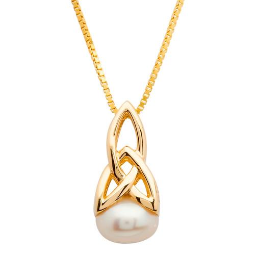 10 Karat Yellow Gold Celtic Trinity Knot Pearl Pendant