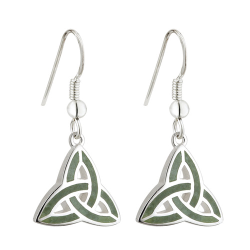 Sterling Silver Connemara Marble Celtic Trinity Knot Drop Earrings