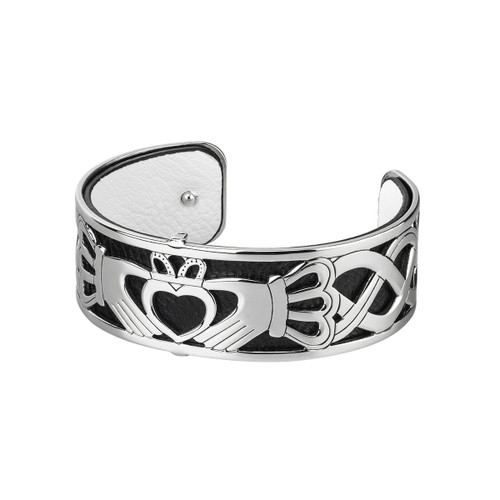 Rhodium and Leather Claddagh Bangle