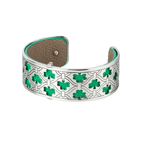 Rhodium and Leather Shamrock Bangle