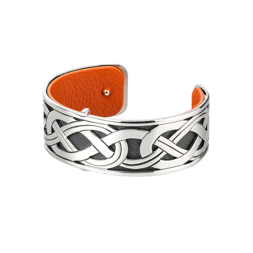 Rhodium and Leather Celtic Bangle