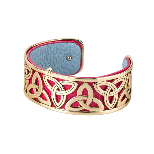 Gold Plated and Leather Trinity Bangle