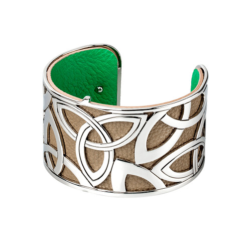 Rhodium and Leather Wide Trinity Bangle
