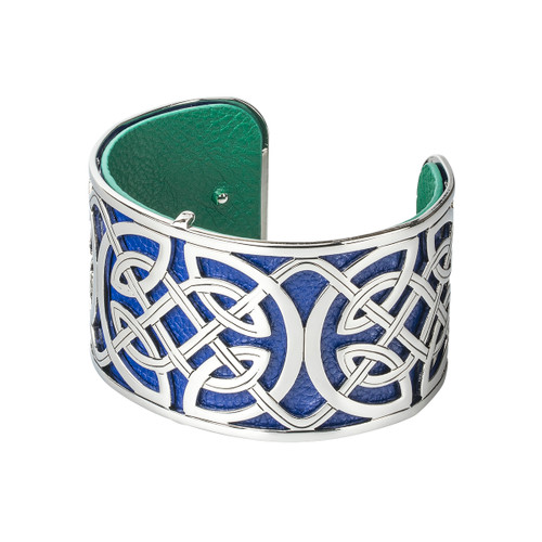 Rhodium and Leather Wide Celtic Bangle
