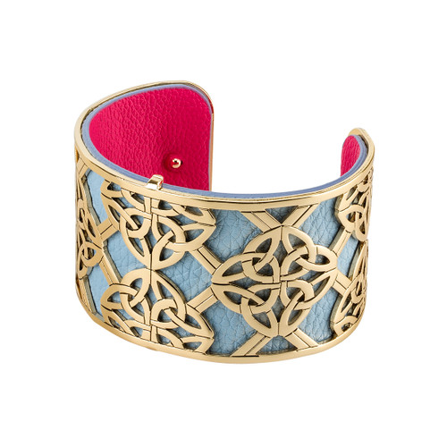 Gold Plated and Leather Wide Trinity Knots Bangle