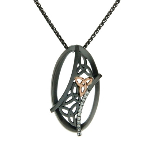 Ruthenium Trinity Knot Necklace