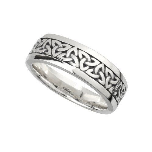 Men's Sterling Silver Oxidized Celtic Trinity Knots Band