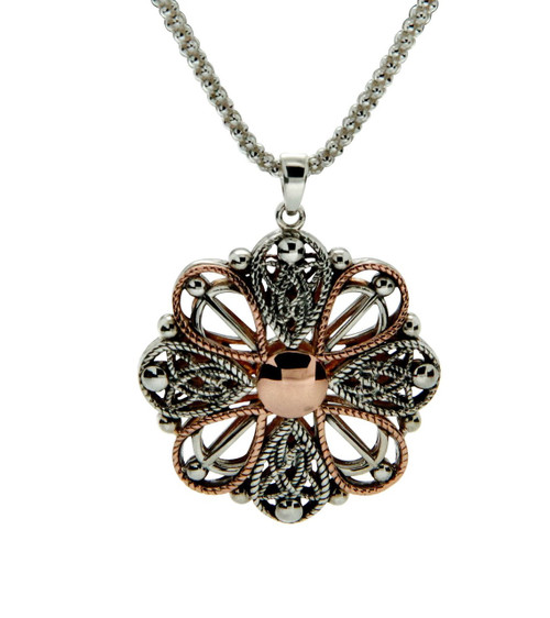 Celtic Petals Ashen Rose Necklace