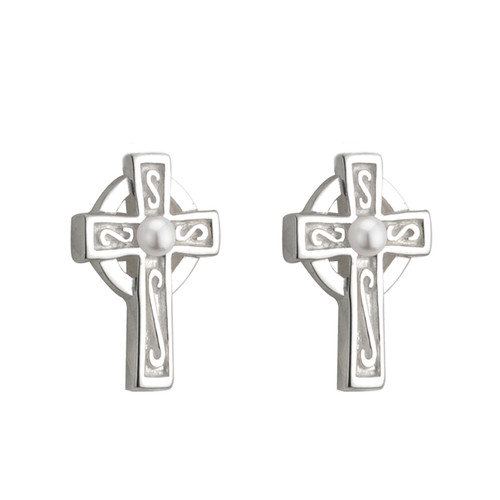 Children's Silver Plated Celtic Cross Stud Earrings