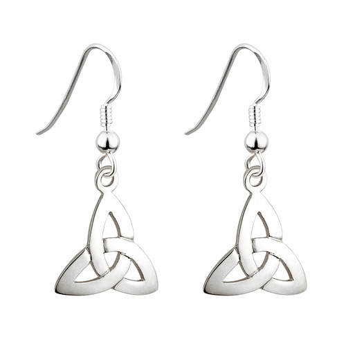 Sterling Silver Celtic Trinity Knot Drop Earrings
