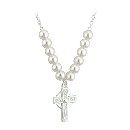 Children's Silver Plated Celtic Cross Necklace with Glass Pearls