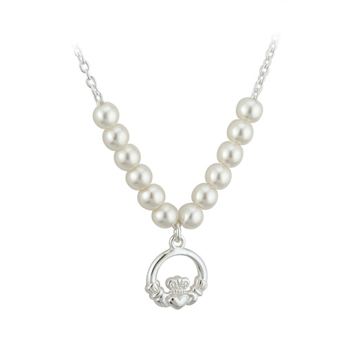 Children's Silver Plated Claddagh Necklace with Glass Pearls