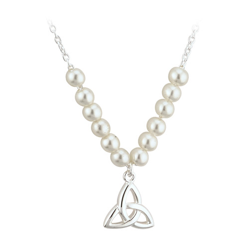 Children's Silver Plated Trinity Knot Necklace with Glass Pearls