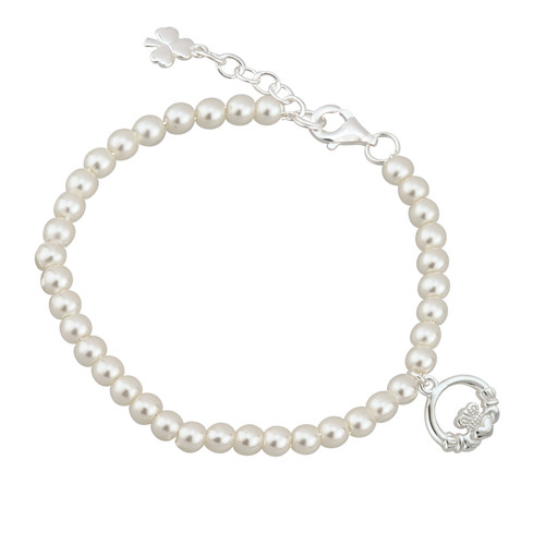Children's Silver Plated Claddagh Bracelet with Glass Pearls