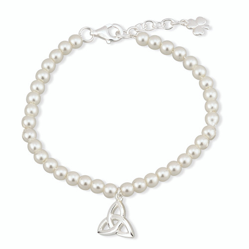 Children's Silver Plated Trinity Knot Bracelet with Glass Pearls