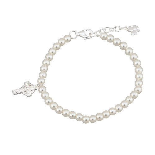 Children's Silver Plated Celtic Cross Bracelet with Glass Pearls