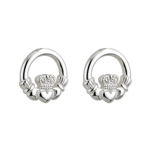 Children's Sterling Silver Claddagh Stud Earrings