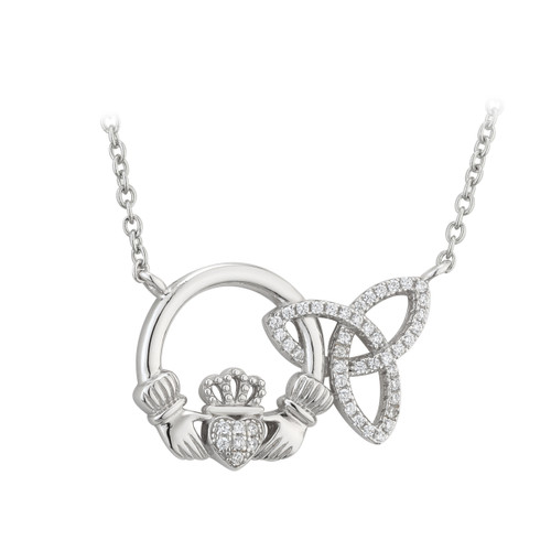 Sterling Silver Interlocking Celtic Trinity Knot and Claddagh CZ Pendant