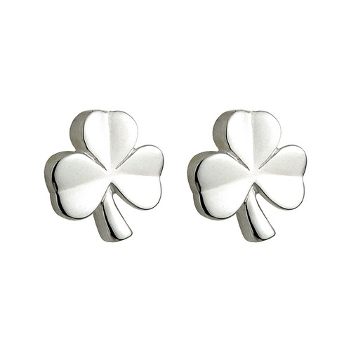 Children's Sterling Silver Shamrock Stud Earrings