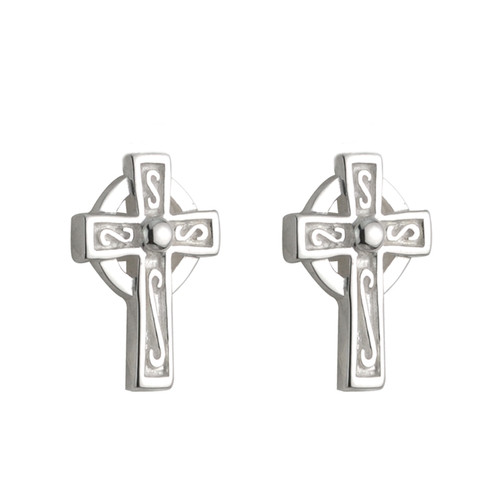 Children's Sterling Silver Celtic Cross Stud Earrings