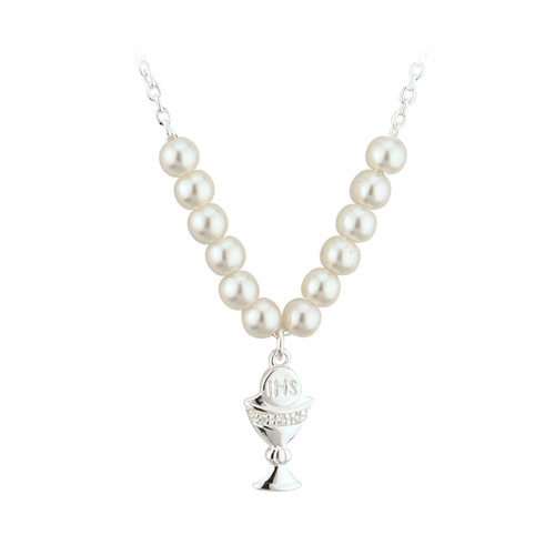 Children's Silver Plated Chalice Necklace with Glass Pearls