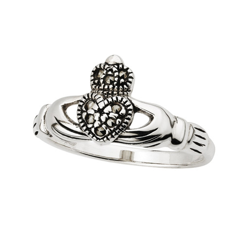 Women's Sterling Silver Marcasite Claddagh Ring