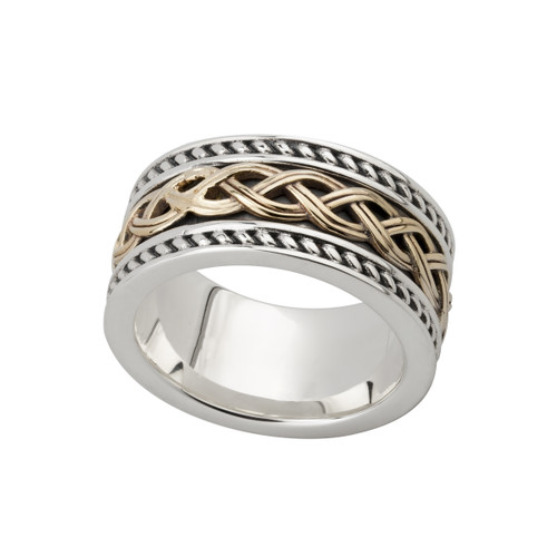 Men's Sterling Silver and 10 Karat Yellow Gold Celtic Knot Band