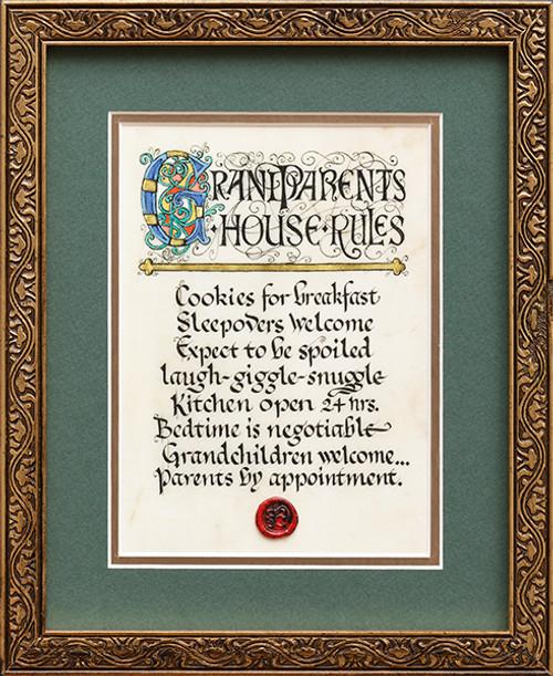 Grandparents House Rules 8x10 Framed