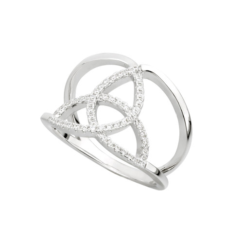 Women's Sterling Silver CZ Celtic Trinity Knot Ring