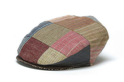 Men's Patchwork Toning Linen Flat Cap