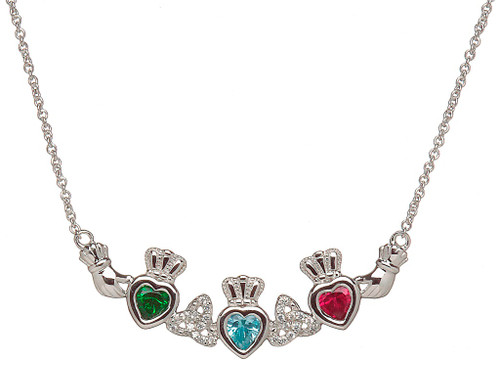 Sterling Silver Birthstone Mother's Necklace - Trinity Knot - 3 Children
